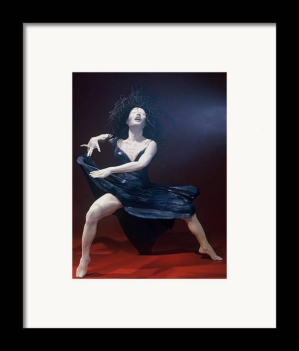 Dance Framed Print featuring the sculpture Blue Dancer Front View by Gordon Becker