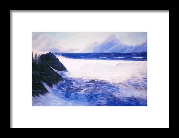 Sea Framed Print featuring the painting Blue Day by Brett McGrath