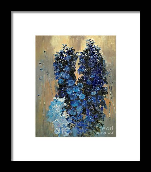 Floral Framed Print featuring the painting Blue Delphiniums For Nancy by Glenn Secrest