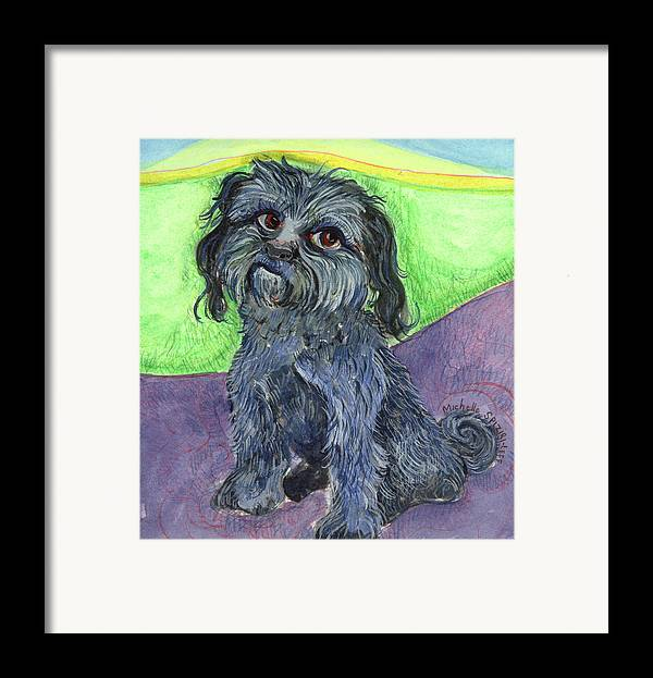 Dog Portraits Framed Print featuring the painting Blue Dog by Michelle Spiziri