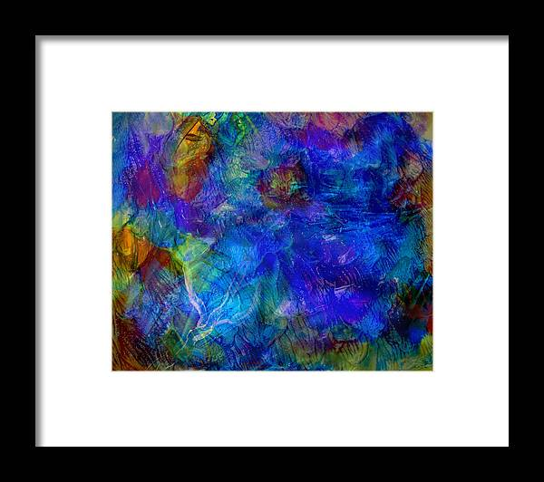 Blue Framed Print featuring the painting Blue Doggie by Leigh Odom