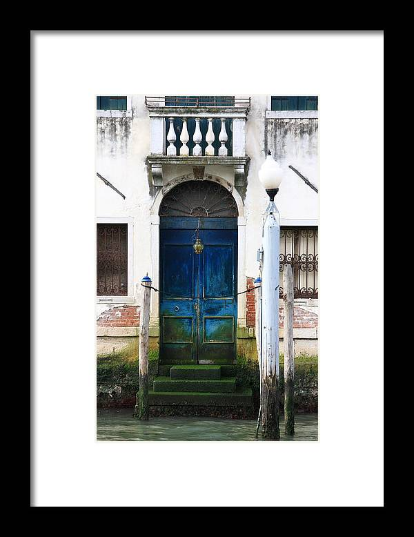 Venice Framed Print featuring the photograph Blue Door on Grand Canal in Venice by Michael Henderson
