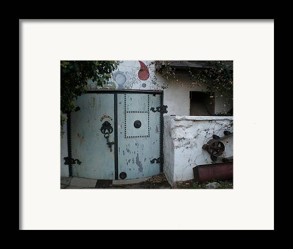 Feed Mill Cafe Framed Print featuring the photograph Blue Door by Sheep McTavish