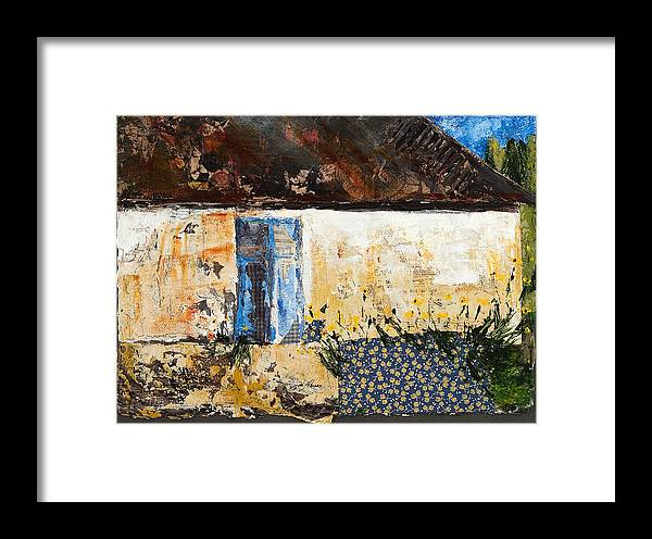 Architectural Framed Print featuring the mixed media Blue Doors by Regina Thomas