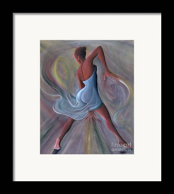 Female Framed Print featuring the painting Blue Dress by Ikahl Beckford