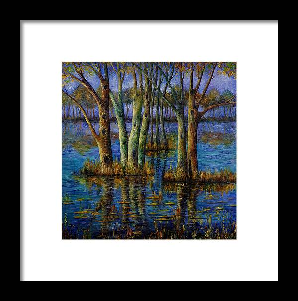 Landscape Framed Print featuring the painting Blue Evening. by Evgenia Davidov