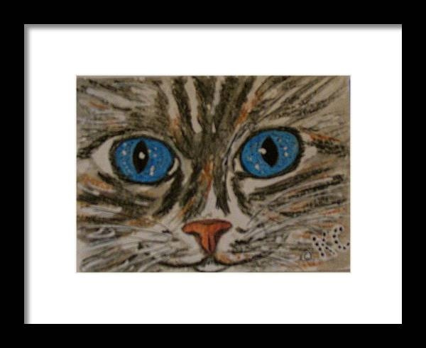 Blue Eyes Framed Print featuring the painting Blue Eyed Tiger Cat by Kathy Marrs Chandler