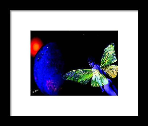 Nudes Framed Print featuring the painting Blue Fairy And Blue Planet by Tray Mead