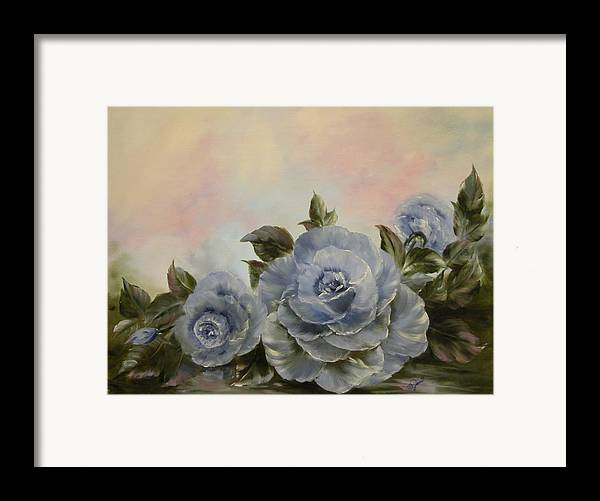 Floral Framed Print featuring the painting Blue Fantasy by Joni McPherson