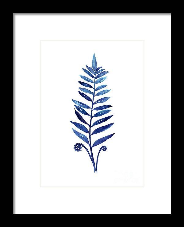 Blue fern watercolor poster by Joanna Szmerdt