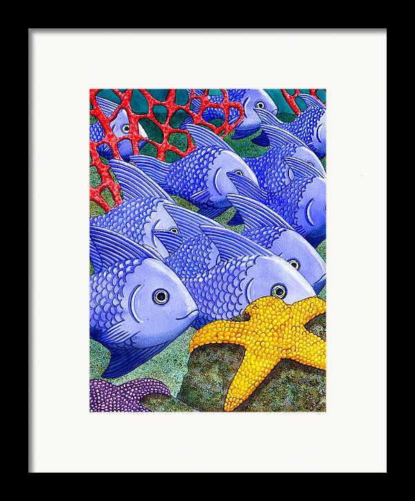 Fish Framed Print featuring the painting Blue Fish by Catherine G McElroy