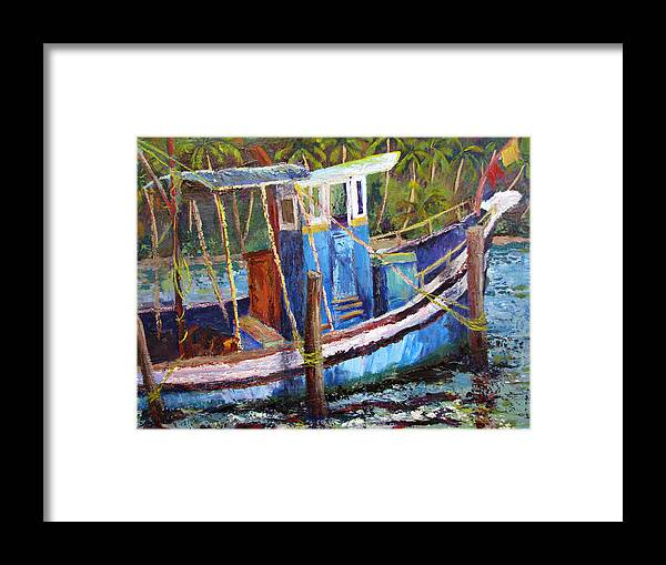Fishing Framed Print featuring the painting Blue Fishing Boat by Art Nomad Sandra Hansen