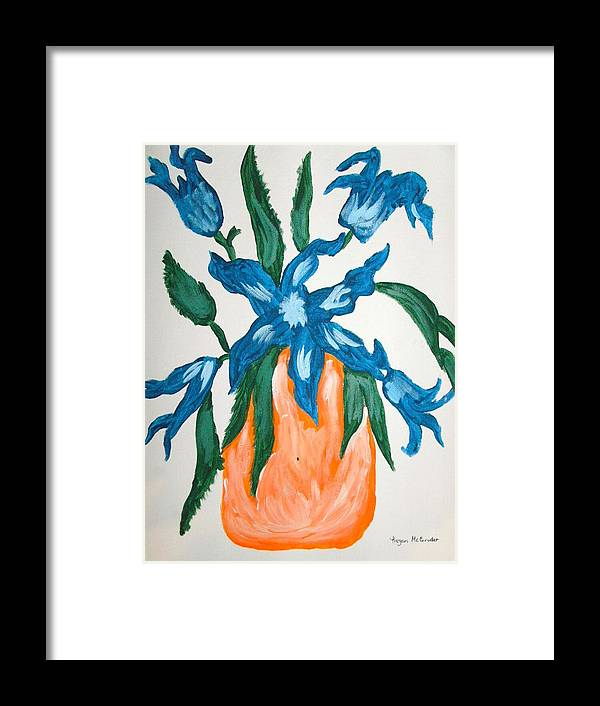 Framed Print featuring the painting Blue Flower by Keyon McGruder