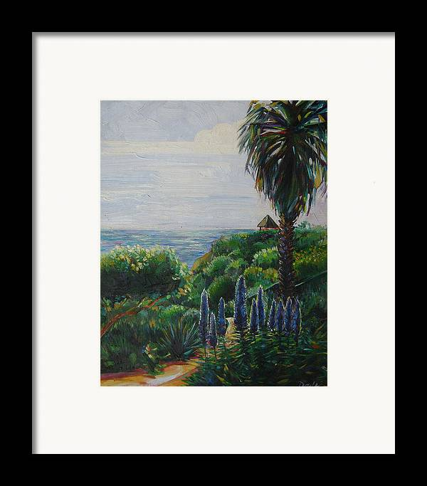 Beach Framed Print featuring the painting Blue Flowers by Karen Doyle