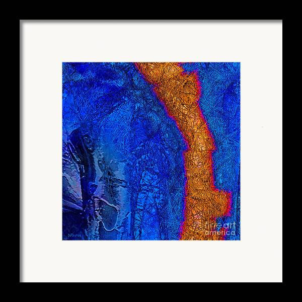 Abstract Framed Print featuring the painting Blue Force by Dee Flouton