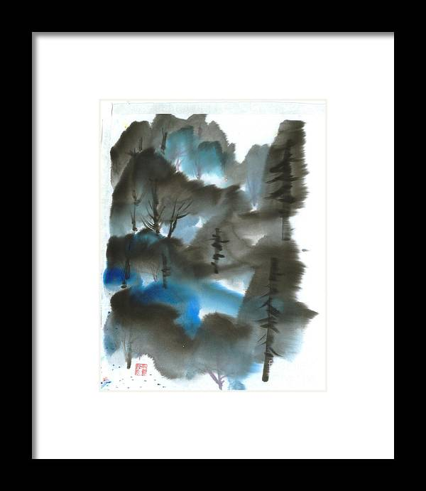 A Forest With A Tint Of Blue. This Is A Contemporary Chinese Ink And Color On Rice Paper Painting With Simple Zen Style Brush Strokes.  Framed Print featuring the painting Blue Forest by Mui-Joo Wee