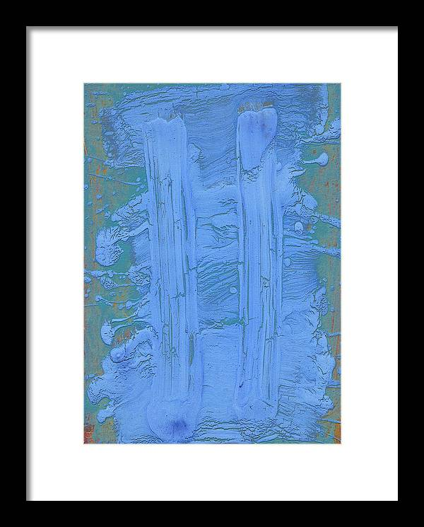 Blue Framed Print featuring the painting Blue Fragments by F Michael Wells