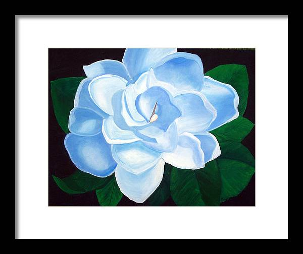 Flowers Framed Print featuring the painting Blue Gardinia by Marcia Paige