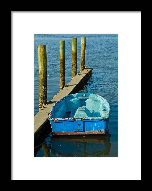 Blue Dinghy Framed Print featuring the photograph Blue by Georgia Nick