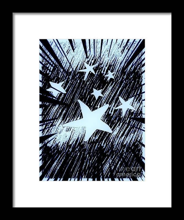Digital Framed Print featuring the digital art Blue Glow Starry Abstract by Debra Lynch