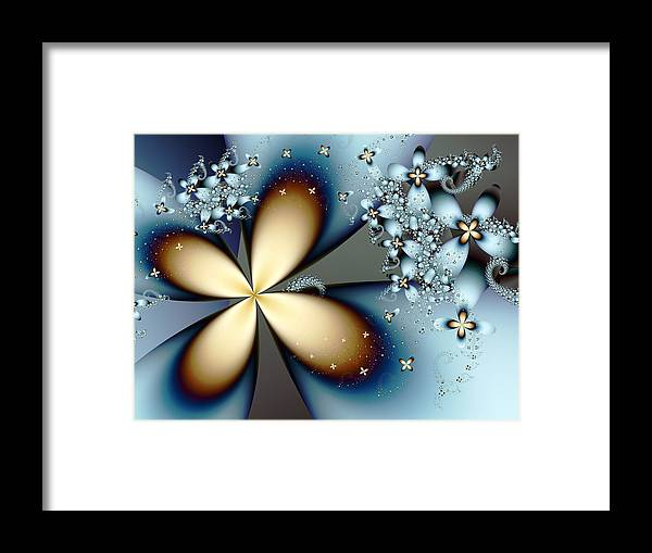 Fractal Framed Print featuring the digital art Blue Gold 4 by Vicky Brago-Mitchell