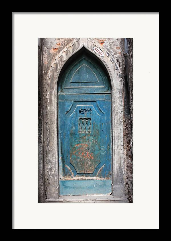 Venice Framed Print featuring the photograph Blue Gothic Door In Venice by Michael Henderson