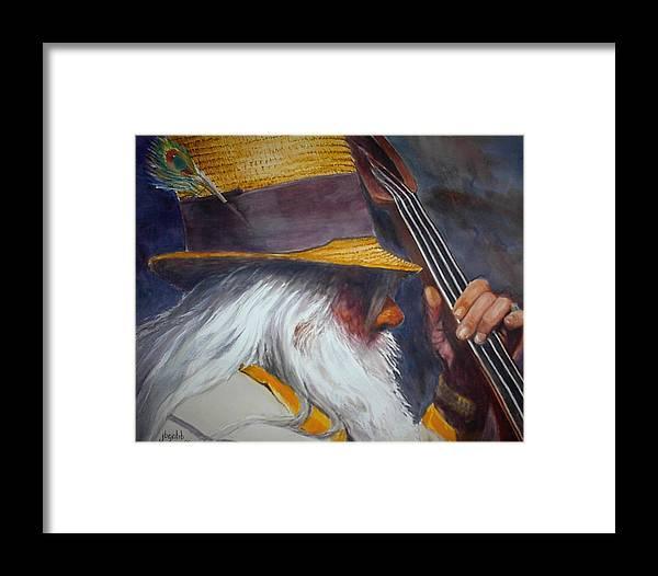 Musician. Bass Player Framed Print featuring the painting Blue Grass Bob by John Gabb