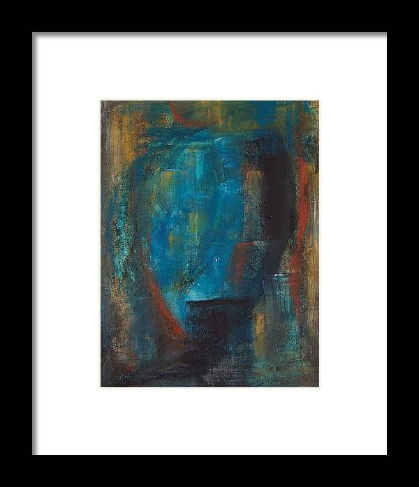 Abstract Framed Print featuring the painting Blue Grotto by Karen Day-Vath