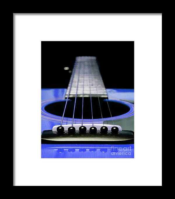 Andee Design Guitar Framed Print featuring the photograph Blue Guitar 14 by Andee Design