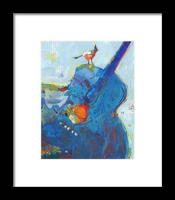 Guitar Framed Print featuring the painting Blue Guitar With Bird by Shelli Walters