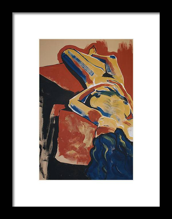 Female Framed Print featuring the painting Blue Hair by Joanne Claxton