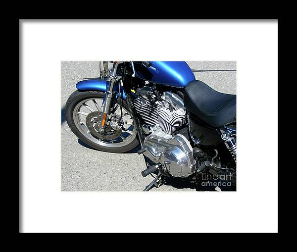 Bike Framed Print featuring the photograph Blue Harley by Attila Jacob Ferenczi