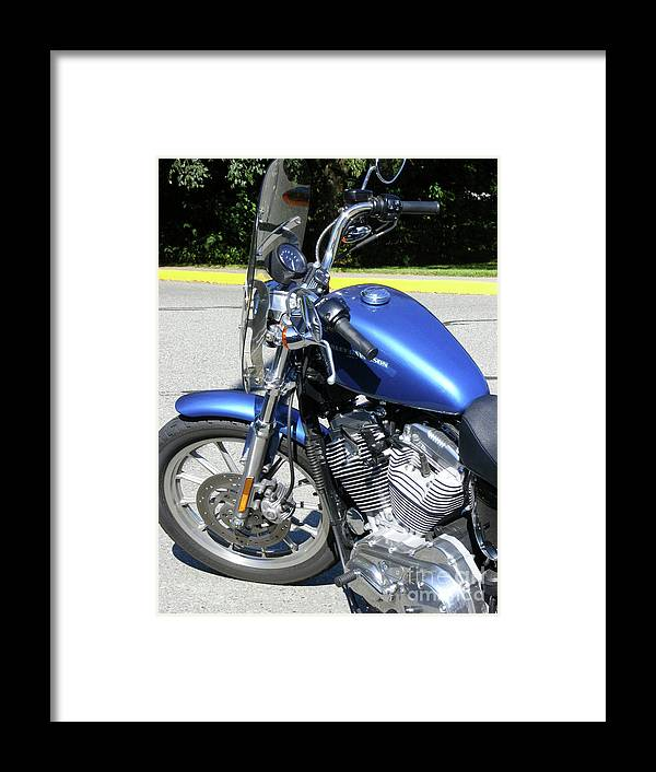 Bike Framed Print featuring the photograph Blue Harley One by Attila Jacob Ferenczi
