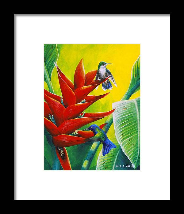 Chris Cox Framed Print featuring the painting Blue-headed Hummingbirds And Heliconia by Christopher Cox