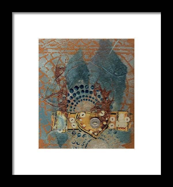 Mixed Media Framed Print featuring the mixed media Blue Heart by Tara Milliken