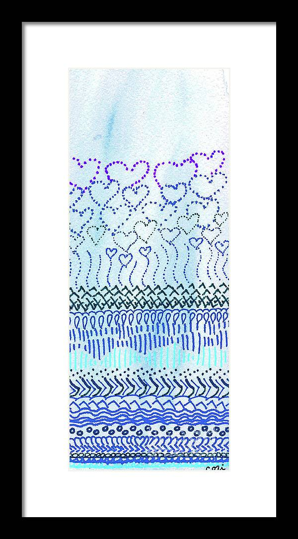 Blue Framed Print featuring the drawing Blue Hearts Rising by Corinne Carroll