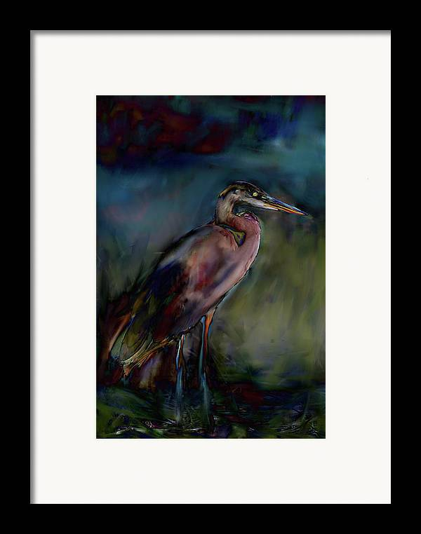 Painting Abstract Of Blue Heron Framed Print featuring the painting Blue Heron Painting II by Don Wright