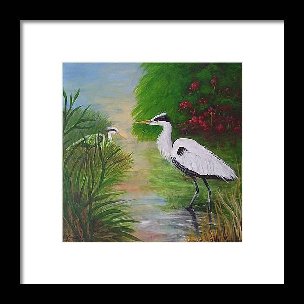 Heron Framed Print featuring the painting Blue Herons by Barbara Harper