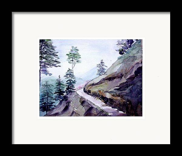 Landscape Framed Print featuring the painting Blue Hills by Anil Nene