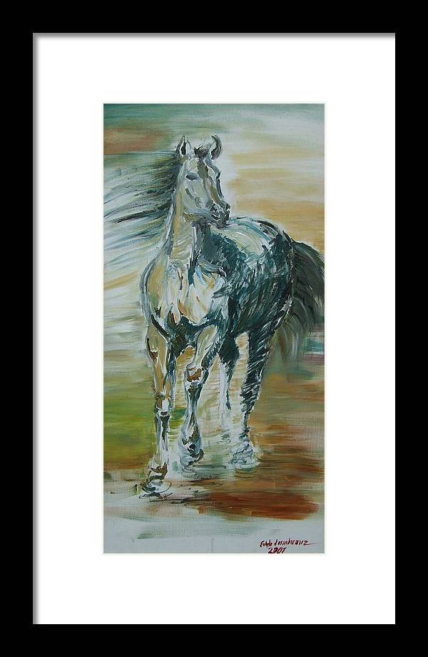 Horse Framed Print featuring the painting Blue Horse by Edyta Loszakiewicz