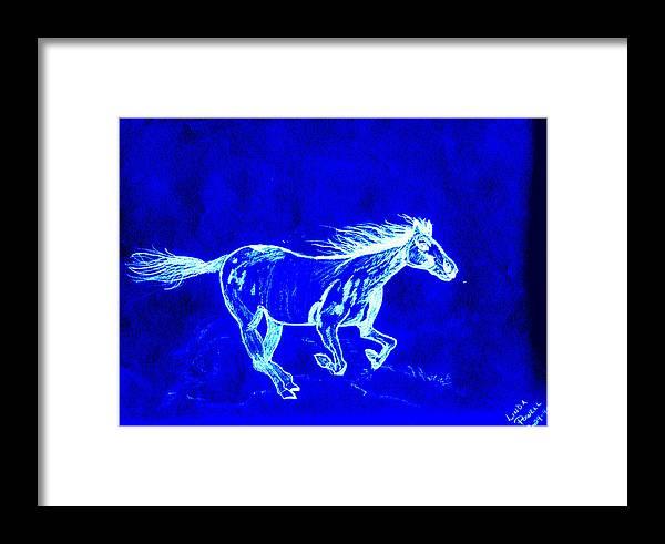 Digital Print Blue Horse Pencil Drawing Original Framed Print featuring the digital art Blue Horse by Linda Powell
