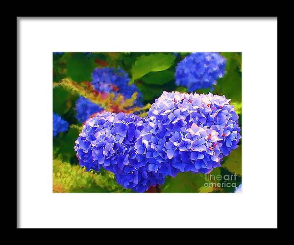 Blue Hydrangea Framed Print featuring the painting Blue Hydrangea by Methune Hively