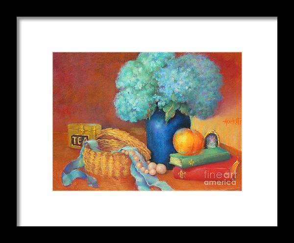 Floral Framed Print featuring the painting Blue Hydrangeas  Copyrighted by Kathleen Hoekstra