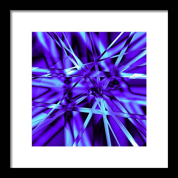 Abstract Framed Print featuring the digital art Blue Ice by Carl Perry