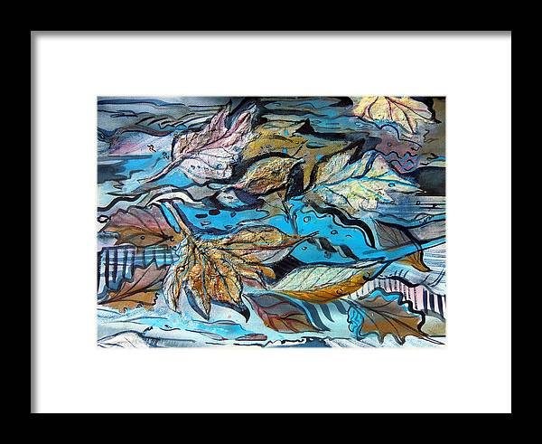 Abstract Framed Print featuring the painting Blue Ice by Mindy Newman