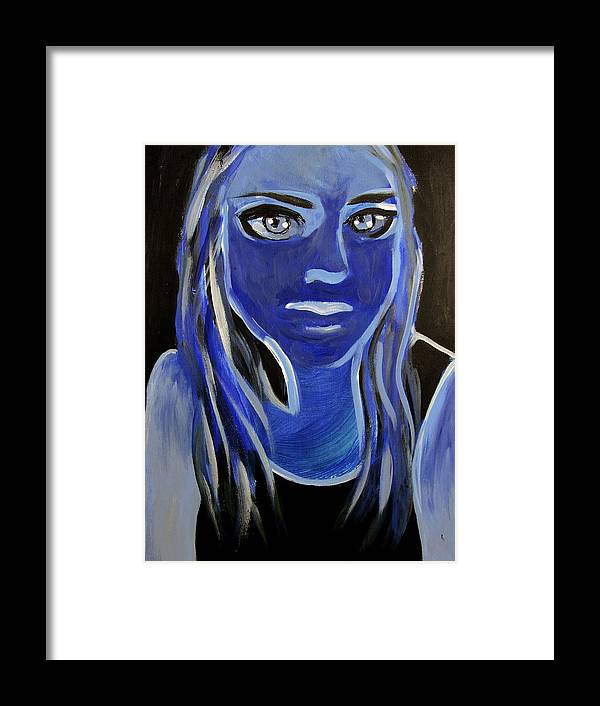 Girl Framed Print featuring the painting Blue by Ingrid Torjesen