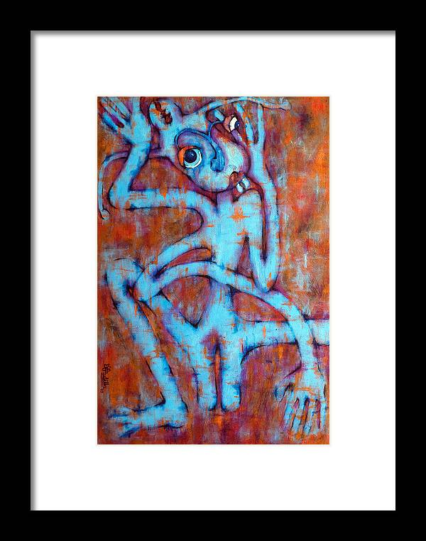 Blue Framed Print featuring the painting Blue Instinct by Claudia Padilla