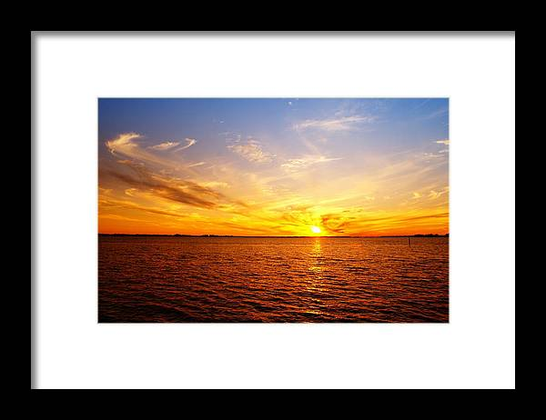 Sunset Framed Print featuring the photograph Blue Into Copper by Florene Welebny