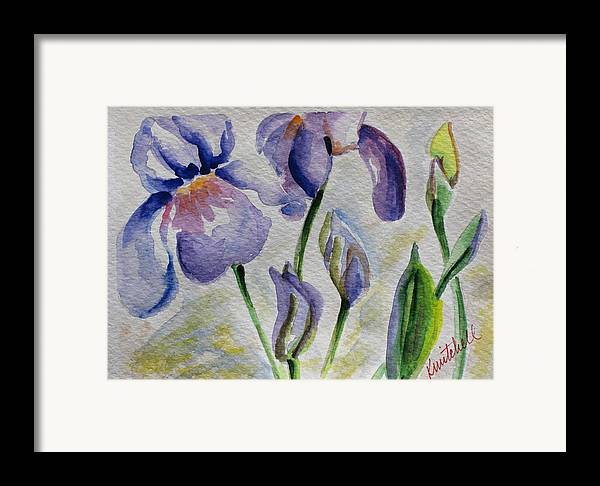 Floral Framed Print featuring the painting Blue Iris by Kathy Mitchell