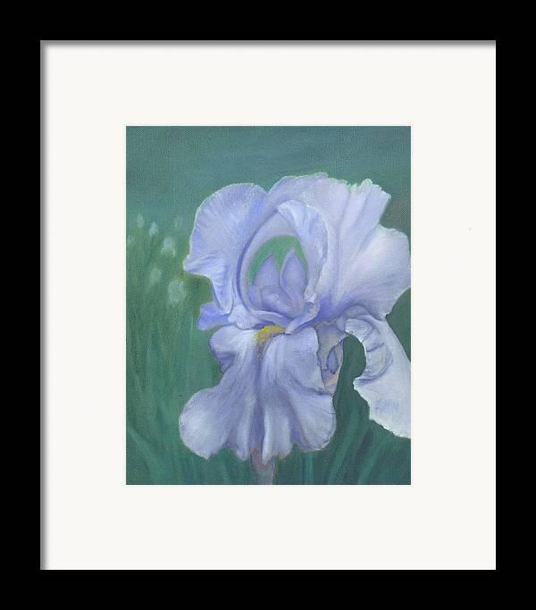 Flowers Framed Print featuring the painting Blue Iris by Laurel Ellis